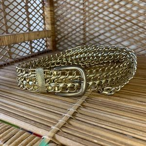 Vintage gold leather and brass braided belt